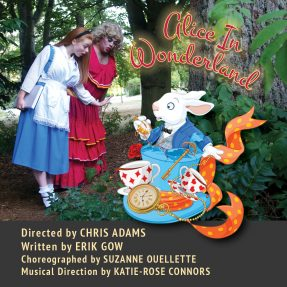 Alice and the Dame in the Rose Garden surprised by the White Rabbit