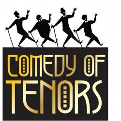 Four tenors danincing on a sign for Comedy of Tenors